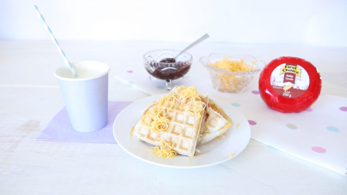 Waffle sandwich with First Choice Cheese and Jam